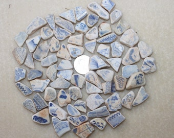 AWESOME BEACHGLASS POTTERY Shards Small old Pottery in Shades of blues 70 Pieces zy068