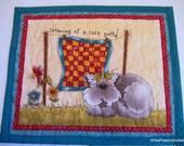 Cat Quilted Mug Rug, Cat Quilted Mini Placemat, Mug Rug Quilted Turquoise Green, Cat Lovers Gift
