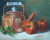 Still Life Art Oil Painting,Apples And Copper Pot Painted On Canvas,Original Oil Painting by Cheri Wollenberg