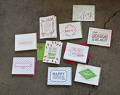 SALE - Seasonal Letterpress Greeting Card Pack (Assorted) - 20 Cards And Envelopes