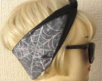 Spider Web Hair Tie Light Gray Glitter Sparkle Gothic Spooky by Dolly Cool