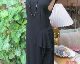 Vintage black knit Calvin Klein black summer dress, easy wear black sz Small sleeveless dress, little black ruffled skirt dress,