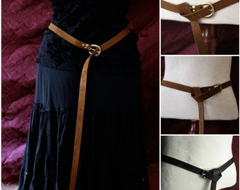 "Steampunk long Leather Belt -Medieval, Ren faire, LARP, antique brass, silver buckle, brown, black, charcoal gray, SCA Garb, 60"" long"