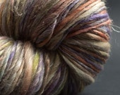 Faerie, HandSpun and Hand dyed Yarn, Silk, Flax and Merino, heavy worsted to bulky, Wrapped with Silver thread Single, 100 yards
