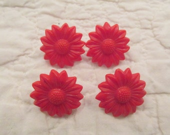 4 Vintage Drapery or Curtain Flower Pins Red