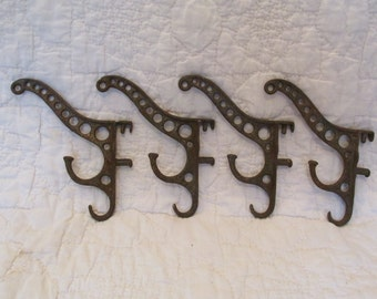 Vintage Cast Iron Hooks Sold Per Hook Triple for Coat and Hat shabby look SALE