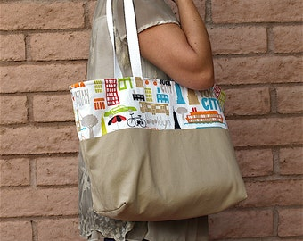 NEW YORK skyline and city neutral fabric lined OOAK tote in home decor and cotton duck fabrics with large pocket and cotton webbing straps