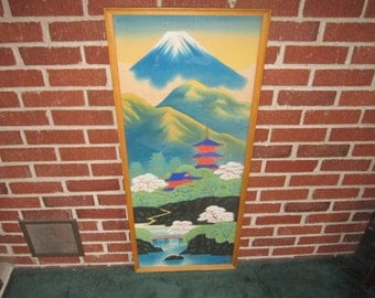 """Vintage 1940s Large Original 41"""" Framed Japanese Signed Colorful Landscape Painting"""