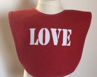 Sale on red LOVE baby bib