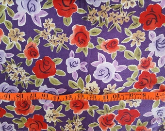 Cotton Flannel Roses in Red and Purples nice weight 2-1/2yd