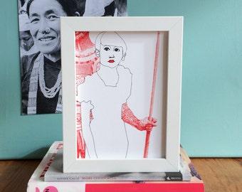 Just A Girl - Giclee Art Print // gift for a girl, feminist home decor, girl power original drawing, female portrait