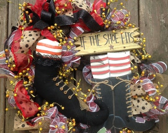 IF the SHOE FITS wreath, Halloween wreath, stripe deco mesh wreath, burlap ribbon- Halloween wreath