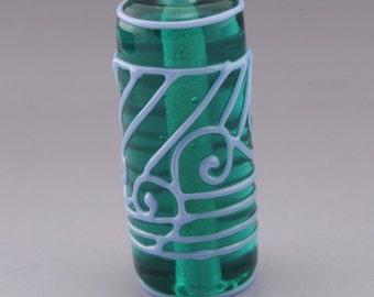 Scrollwork Cylinder Tube Focal Artisan Lampwork Bead Periwinkle Stringer Transparent Teal Handmade Glass Heather Behrendt  SRA 3470