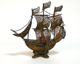 Brass Filigree Metal Portuguese Ship Figurine