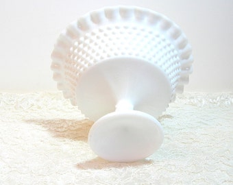 Milkglass Pedestal Bowl, Compote, Hobnail With Ruffled Edge, Footed Bowl, Centerpiece