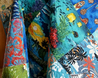 Quilt Baby Nursery Bedding Hawaiian Surfboards Patchwork Squares Fish Tropical Ocean Palm Trees Hibiscus Blue Lap Throw Waves Turquoise