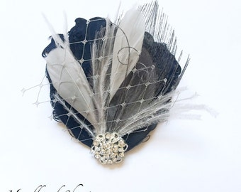 BREE - Dark Navy Blue and Grey Curled Goose Peacock Feather Fascinator - Made to Order