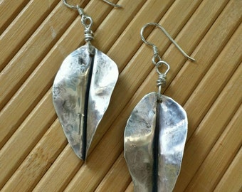 Earrings, leaf earrings, sterling silver earrings, jewelry, handmade jewelry, unique jewelry, gifts, Valentine's Day, gifts for her