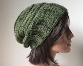 April Slouchy Hat knit look crochet slouchy hat hemp wool handmade