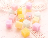 Fake Sugar Cubes Candy - 15 pieces | Resin Cabochon Decoden Supplies Jewelry Making Flatback Resin Cabochon