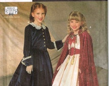 Girls Hooded Cape Historical Dress Skirt Jacket Simplicity 7306 Sewing Pattern Halloween Child Size  6 7 8 10 12 14 S M L Small Medium Large
