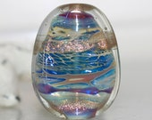 Small Shimmery Metallic Waters Handmade Lampwork Glass Focal Bead
