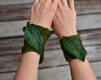 RESERVED - Felt Melted Moss Matching Leaf Cuff Pixie Bracelets OOAK