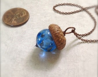 Glass Acorn Necklace - Dappled Blue - by Bullseyebeads - Ready to Ship