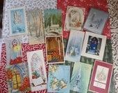 Stained Glass Windows Pipe Organ and Church Settings Welcome You to Celebrate Christmas In Vintage Christmas Card Lot No 619 Lot of 14