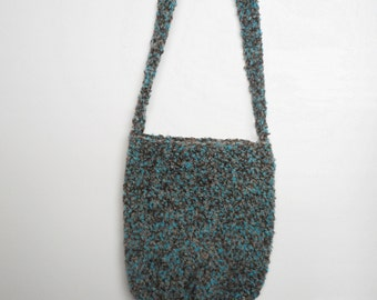SALE Crochet Sling Purse in Turquoise Boucle with Pink Bird Print Lining, ready to ship.