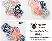 CUSTOM Reusable Cloth Menstrual Pad by MotherMoonPads ~ Made w/ Coral Mockingbird Minky, WINDPRO Pantyliner, Day, Heavy Flow, Overnight Pad