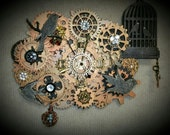"Steampunk Clock - Wall Clock, Desk Clock, Feathers, Bling, Bird Theme, Jeweled, Gears, titled, ""Feathered Friends"" - EK Original #001"