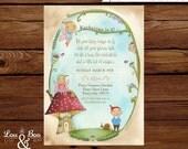 Woodland Fairy and Gnomes Custom birthday printable party invitation