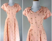 Vintage 1940s Dress Pink Embroidered Floral Bows Swing Cocktail Party WWII Dress