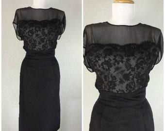 Vintage 1950s Dress Elizabeth Arden Black Illusion Lace Chiffon Cocktail Party Dress