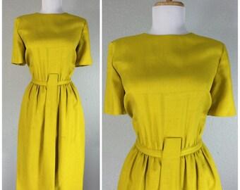 Vintage 1960s Dress Wragge Shantung Silk Yellow Gold Wiggle Dress