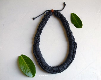 Statement necklace - Chunky cotton necklace -  Charcoal grey  - Gift for woman.