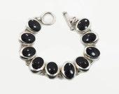 Black Onyx Bracelet, Sterling Bracelet, Heavy Silver, Vintage Mexico Taxco, Links Linked, Vintage Jewelry, Multi Stones, Big Black, Large