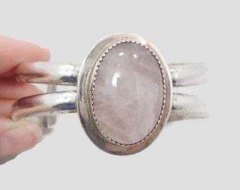 Rose Quartz Bracelet, Pink Stone, Sterling Silver, Vintage Cuff, Pink Gemstone, Big Statement, Large Stone, Boho Bohemian, 925, New Age
