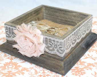 Ring Box, Ring Bearer Box, Wooden Ring Box, Ring Bearer Pillow, Pale Peach, Blush, Ivory Lace, Burlap Pillow, Rustic Ring Box, Custom