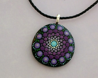 Bohemian jewelry-pendant necklace-mandala stones-painted rocks-birthday-yoga-meditation Zen-3D art-ooak 3D glow-ombre purple-chakra-dot art