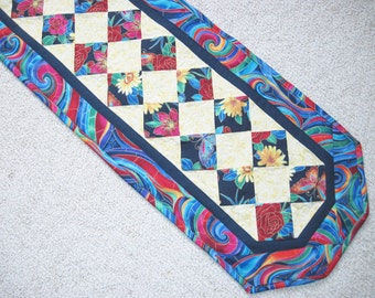 Quilted Table Runner Patchwork Bright abstract  Quiltsy  Handmade