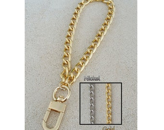 "GOLD or NICKEL Classy Curb Chain Wrist Strap - 3/8"" (9mm) Wide - Choose Size & Hook Type"