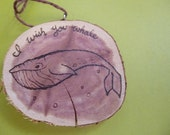 Whale Woodburned Ornament