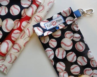 Epi Pen Carrier with Clear Pocket and Clip Holds up to 2 Allergy Injectors - You Choose Size Baseball Fabric in Red Navy or Cream