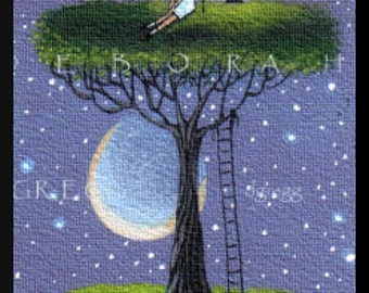 Up Where The Air Is Clear   a tiny summer Tree Moon PRINT by Deborah Gregg