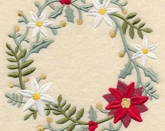 Embroidered Poinsettia Towel - Christmas  Wreath Towel - Flour Sack Towel - Hand Towel-Bath Towel - Embroidered Christmas Stocking - Apron