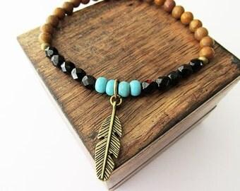 Men's or Unisex Beaded Jasper, Glass and Feather Charm Bracelet