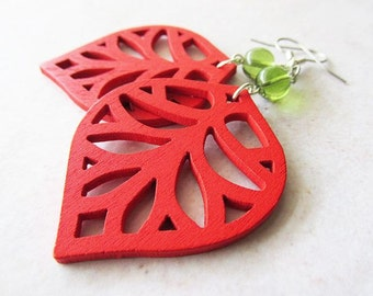 Lightweight Red Wooden Leaf and Green Glass Bead Earrings | Nature Inspired Hippie Boho Jewellery | Everyday Casual Wear | Gift for Her |