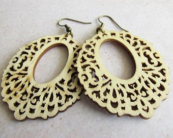 Natural Wooden Oval Filigree Earrings